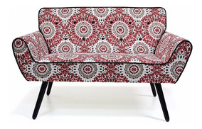 Poltrona 2 Lugares Namoradeira Sofa Decorativa Estampa Fany