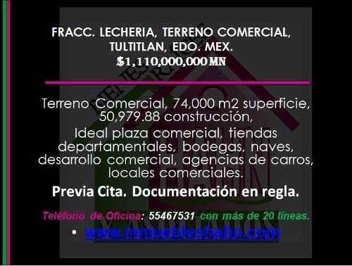 Fracc. Lecheria, Terreno Comercial, Venta, Tultitlan, Edo. Mex.