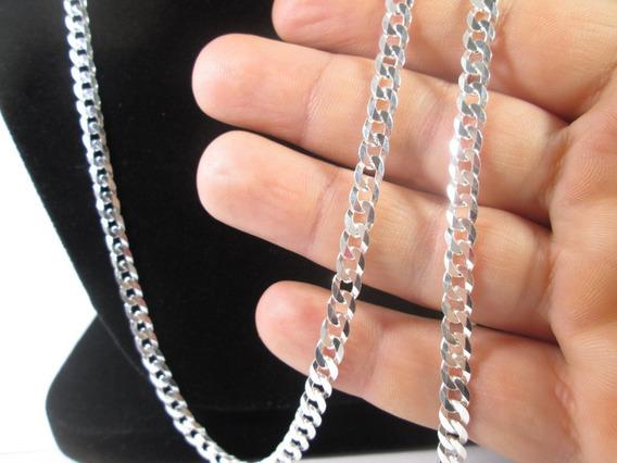 Corrente Cordão Prata Maciça 925 Elos Grumet 70 Cm+ Pulseira