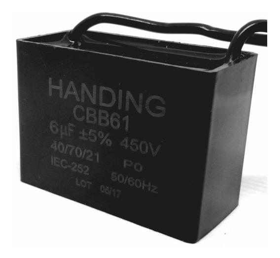 Capacitor 6uf X 450vac Fio Retangular Polipropileno Cbb61