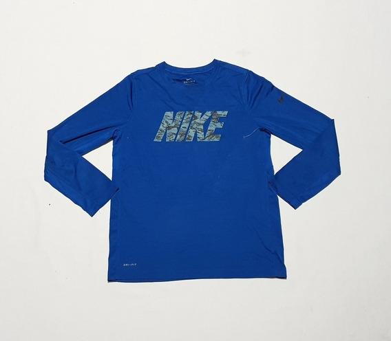 Playera Manga Larga Nike Dri Fit Chica Azul