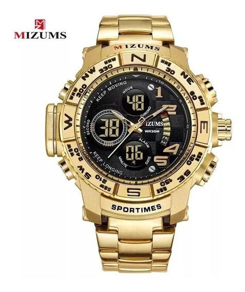 Relógio Masculino Dourado Mizums Multifuncional Barato