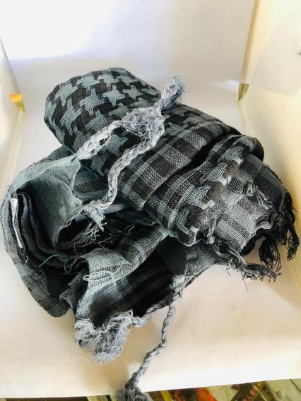 Shemagh O Palestina 100% Algodón En Color Gris Con Negro