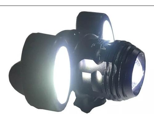 Farol Lanterna Bike 3 Focos Led T6 Com Zoom Recarregável
