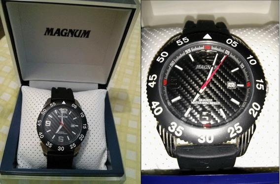 Relógio Magnum Preto E Prata - Frete Grátis