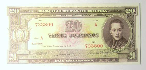 Bolivia Billete 20 Bolivianos 1945 P 140 Unc Bolivar