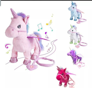 Peluche Unicornio Baila Camina Al Ritmo De La Musica Navidad