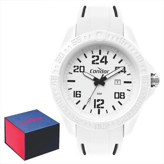 Relógio Condor Esportivo Branco Silicone 52 Mm Co2115kxc/6b