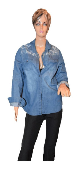 Scombro Camisa De Jean Con Detalle Camuflado