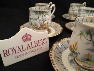 Royal Albert - Silver Birch - 06 Xícaras De Café Com Pires