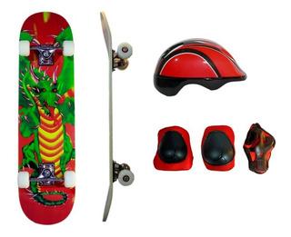 Skate Patineta Completo Skateboard Casco Protección Dolphin