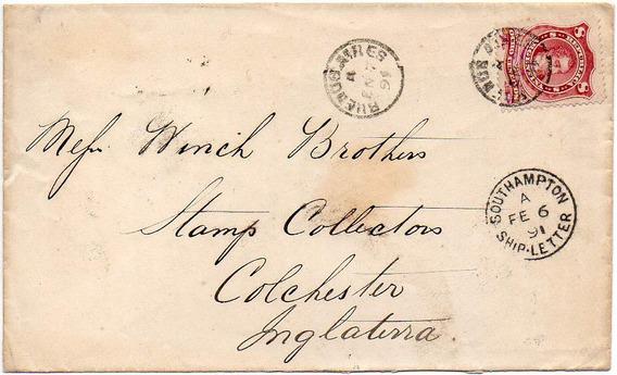 Argentina 1891. Sobre Con 8 Cts. Rivadavia Tipo Ii, A Inglaterra. Matasello Ship-letter De Southampton