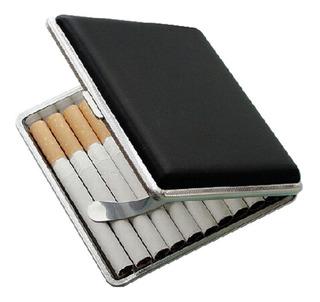 Cigarrera Cuero Piel Estuche Cigarros Metal