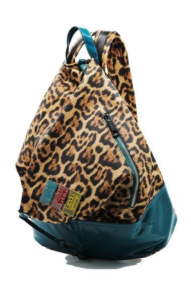 Mochila Bolso Mujer Urbana Cuero Pu Leopardo Leblu C9144