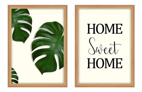 Composição Kit 2 Quadros C/ Moldura Vidro Sweet Home Folhas