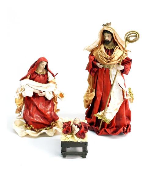 Pesebre Sagrada Familia Rojo Con Oro - #31151 Sheshu Navidad