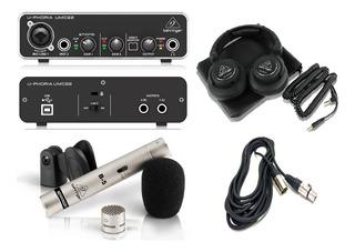 Kit Combo Interface Behringer Umc22 Usb , Mic B5 Y Hpx6000