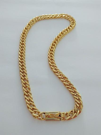 Cordão Elos Duplo 60cm 13mm Banhado A Ouro 18kelos Soldados
