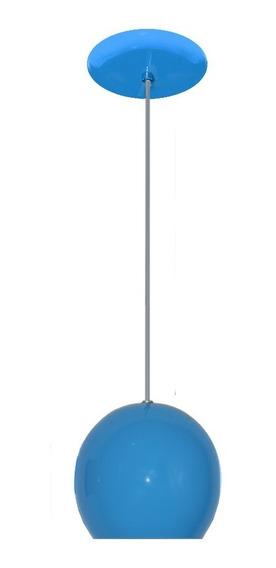 Luminaria Colorida Modelo Bolinha - 14cm X 15cm - Azul