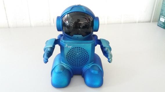 Caixa Som Usb Robot Azul C/antena Receptor Rádio