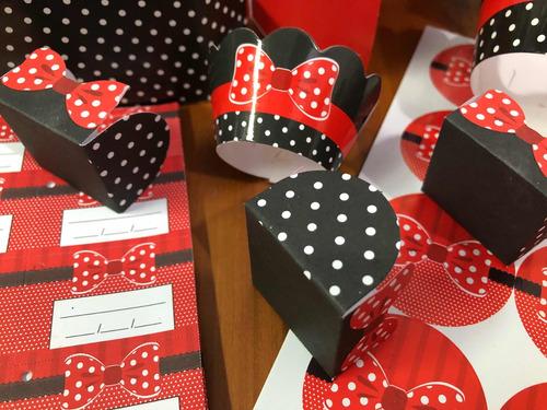 Imagem 1 de 10 de  776 Itens Festa Forminha Para Doces Minnie Mouse Completo