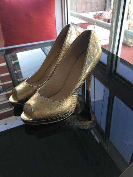 Zapatos Fiesta Numero 40 Croco Dorado. Sin Uso