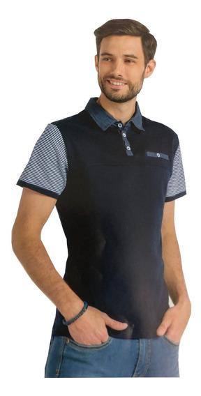 Playera Tipo Polo Slim Fit Peaceful Clothing Marino