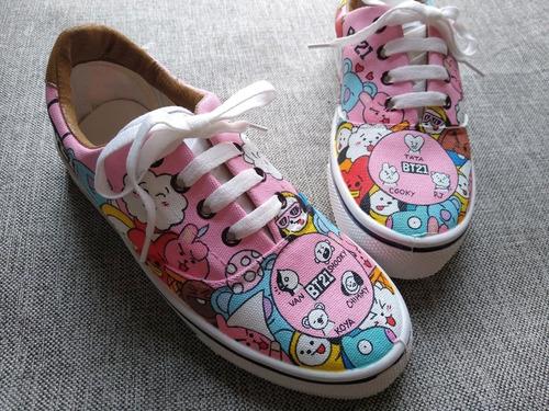 Zapatillas Banda Bt21. Pintadas A Mano Diseño Personalizado.