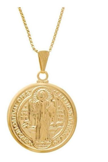 Colar Corrente Medalha De São Bento Banhado A Ouro Semijoia