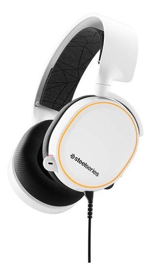 Headset Steelseries Arctis 5 2019 Edição Stl-61507 White Rgb 7.1 Surround Dts 2.0 Pc Mac Ps4 Dispositivos Moveis