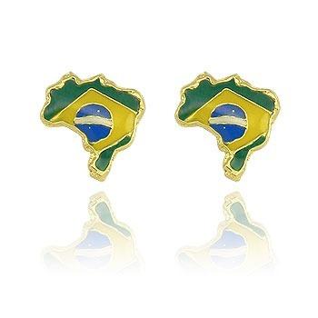 Brinco Folheado A Ouro Em Forma Do Mapa Do Brasil