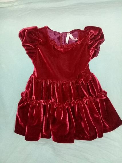 Vestido De Festa Menina 2/3 Anos Vernelho De Veludo
