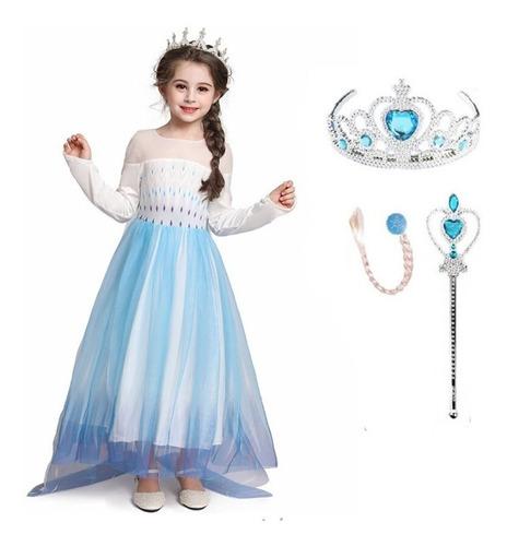 Imagem 1 de 10 de Fantasia Festa Infantil Elsa Filme Frozen 2 Com Acessórios