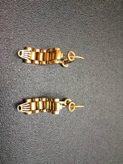 Aretes Rolex Oro De 14 Kilates Hermosos Casi 8 Gramos