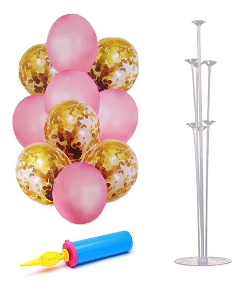 Set Globos Metalizados Látex Rosa Y Dorado+ Base E Inflador