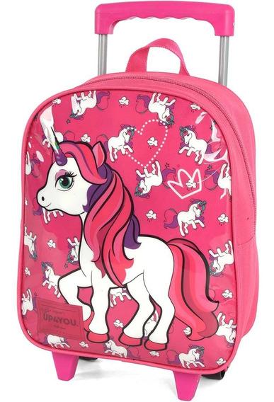 Mochila Escolar Feminina Unicornio C/ Rodinhas 30 Cm