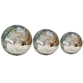 Trio De Bolas Decorativa Vidro Craquelê Prata Vs