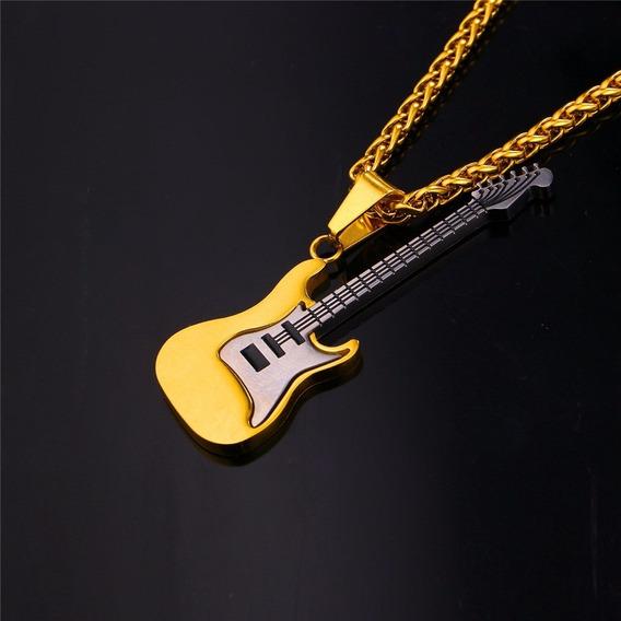 Dije Guitarra Oro Laminado 18k 30 Micras Hop Rock Sin Cadena