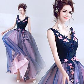 Vestido De Xv Años 15 Dulces 16 Flores Bordado Rosas Azul