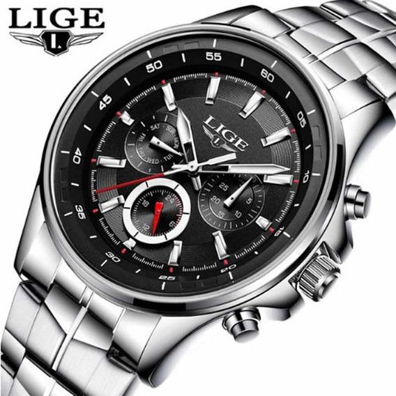 Relógio Lige Masculino Quartz, Luxo Original, Aço Inoxidável
