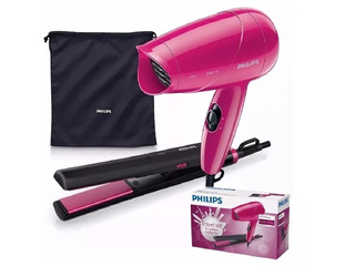 Kit Viaje Philips Hp8644 Secador + Planchita + Funda