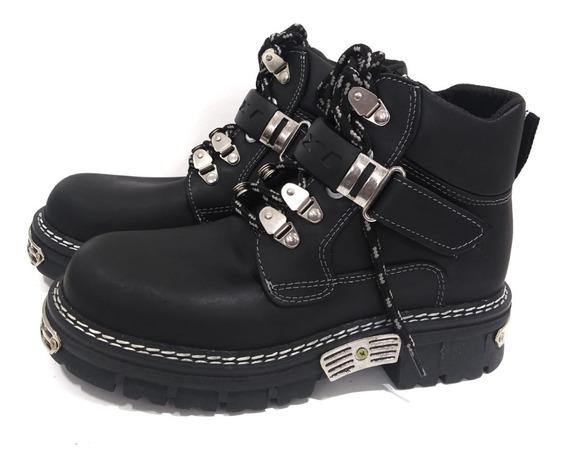 Zapatos Hombre Borcego Motoquero Oxigeno Cuero Base Goma