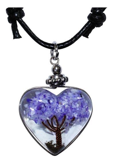 Colar De Coração Resina Orgonite Pedra Ametista Amuleto Árvore Da Vida Espiritual Cordão Regulável Longo E Curto