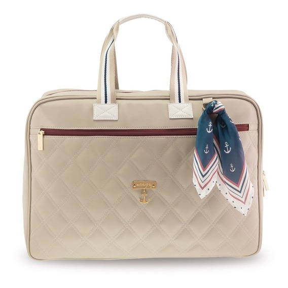 Mala De Viagem Mia - 49x37x18 Cm - Coleção Navy - Bege - Masterbag