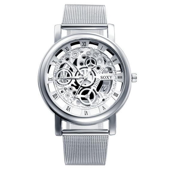 Reloj Pulsera Soxy Esqueleto Malla Metal 2019 Elegante Moda
