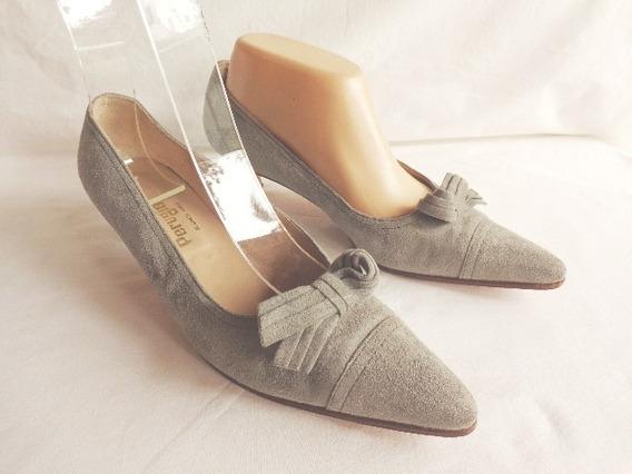 Perugia Zapatos Stilletos Nro.39 Color Gris Cuero Gamuza