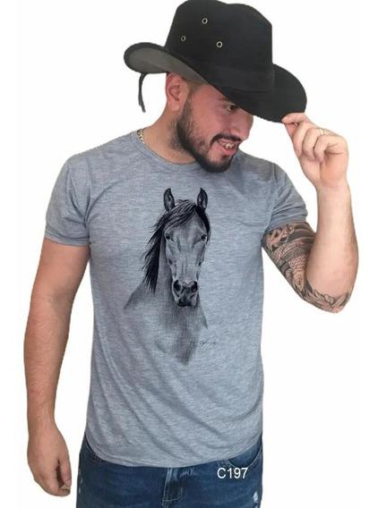Blusa Masculina Cinza Cavalo Frontal Country Tshirt