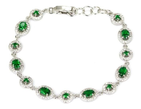 Pulseira Esmeralda Diamentes Cz Natural Prata Esterlina