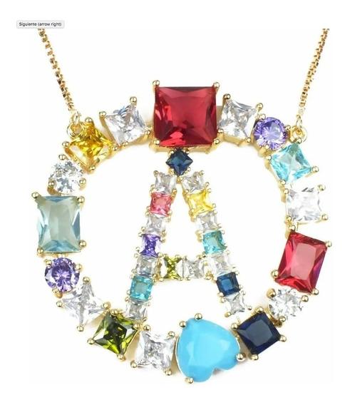 3 Collar Dije De Inicial Piedras Cristal Arcoiris Elegir