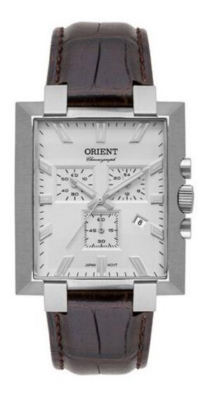 Relógio Masculino Prata Orient Quadrado Couro Cronógrafo +nf